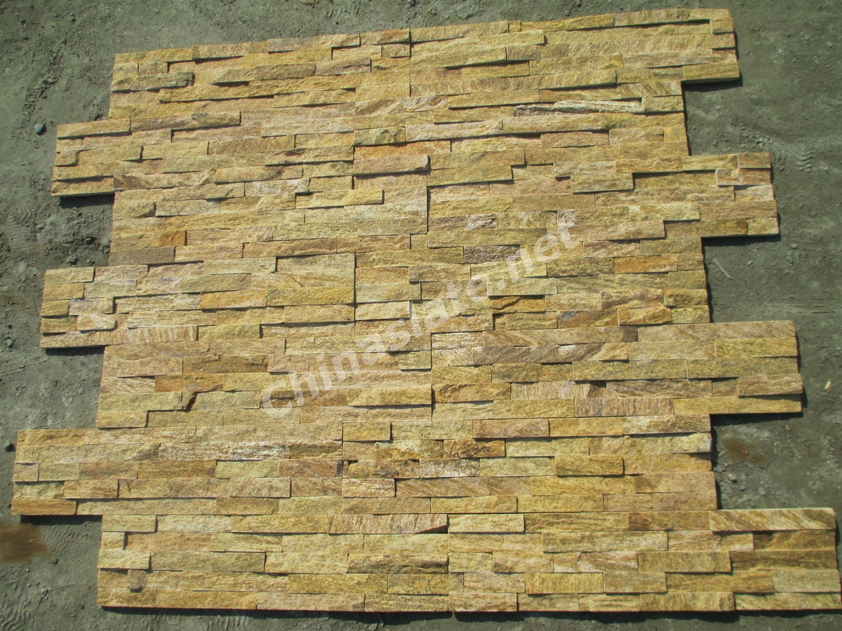 Natural White And Yellow Quartzite Wall Cladding Stone