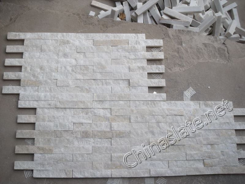 Natural Beige White Quartzite Wall Stone Veneer Golden