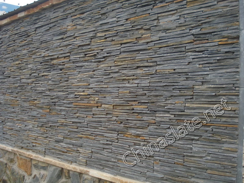 Slate wall,quartzite cladding stone wall project,Cultured